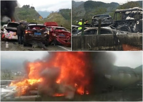 春运大车祸!清远19车追撞引发大火25死伤(组图)