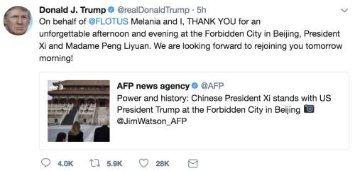 川普在中国发的第一条推文