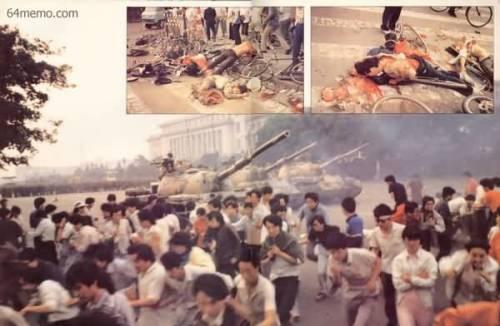 1989年六四屠杀后的情景。