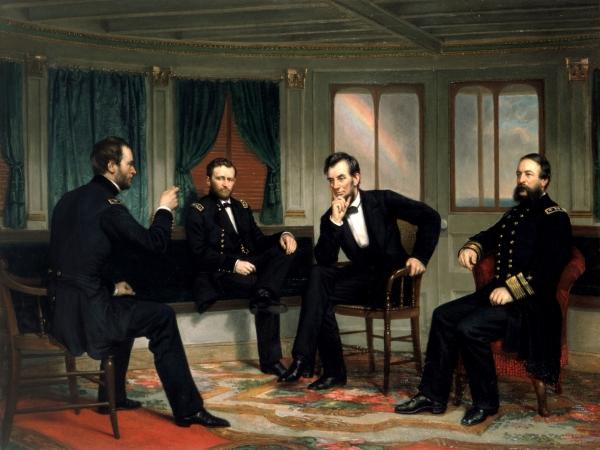 林肯(中右)与(自左)舍曼、格兰特和波特。1868年作品。