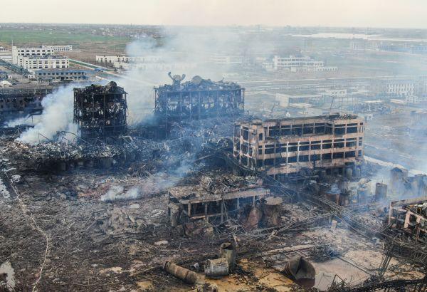 """江苏省盐城市响水天嘉宜化工厂""""3.21""""特大爆炸事故现场。"""