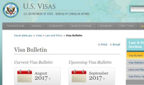 美��9月移民排期公布  �H�倬G卡大幅倒退