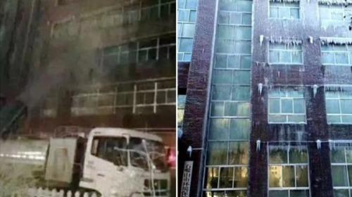 """宁夏石嘴山市环保局大楼变""""冰雕"""""""