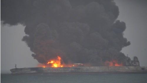 巴拿马籍油船SANCHI号与香港籍散货船发生碰撞事故两天后,仍持续漏油
