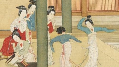 中国古典舞是发源自中国大陆。图为《汉宫春晓图》局部