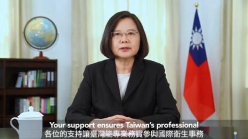中華民國蔡英文總統斥責中國用政治手段讓臺灣無法參與「世界衛生大會」(WHA)。