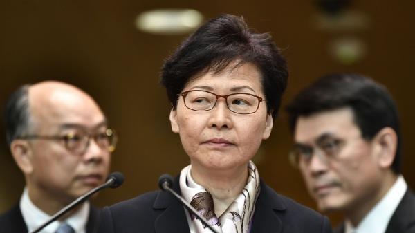 香港特首林�月娥於2019年8月5日在香港出席新��l布��。